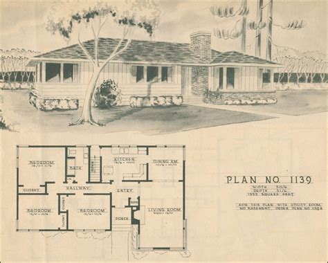 spectacular 1950s house plans 1950 modern ranch style house plan mid century home