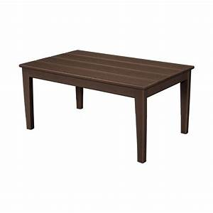 Polywood newport 22 in x 36 in plastic outdoor coffee for Plastic patio coffee table