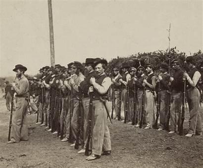 Civil War Union Soldiers Drilling Infantry Regiment