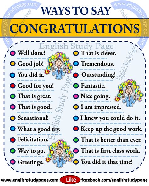 Other Ways To Say Congratulations In English  English Study Page