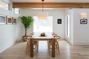 reclaimed wood table dining room modern with drum pendant