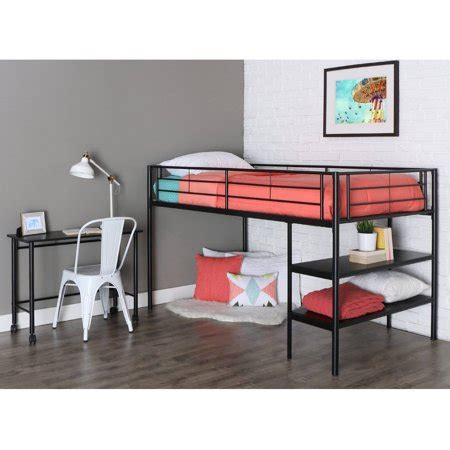walmart loft bed with desk metal loft bed with desk and shelving black