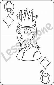 Lesson Zone AU - Playing card Queen of Diamonds B&W