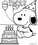 Coloring Snoopy Birthday Printable sketch template