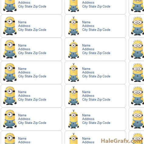 printable despicable  minions address labels