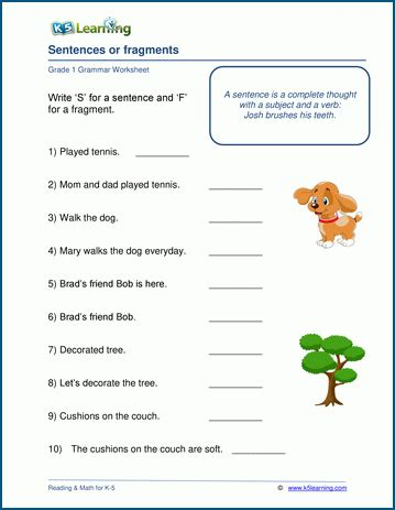 sentences or fragments worksheets for grade 1 k5 learning