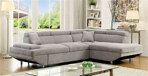 Foreman contemporary style gray flannelette fabric pull for Discount grey sectional sofa