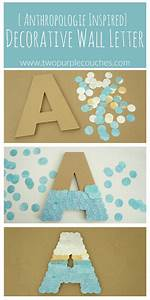 anthropologie inspired wall letter two purple couches With anthropologie wall letters