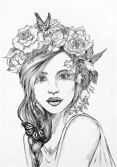 Crown Coloring Pages Realistic Flower Drawing Drawings