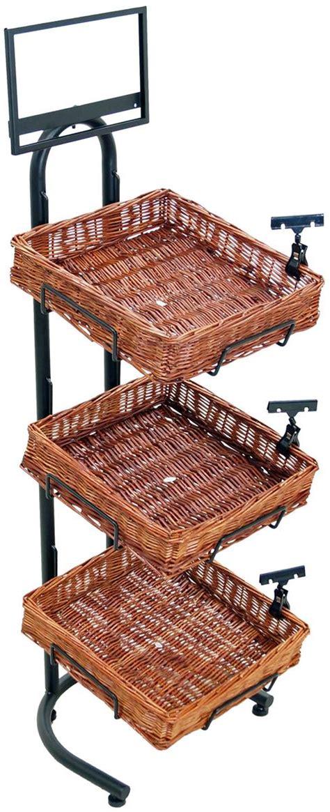 three tier floor l tiered basket floor stand price labeling clips