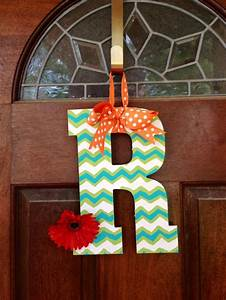 chevron painted wooden letter love this for the front With front door letters