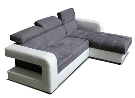canape d angle convertible reversible dave blanc micro grise