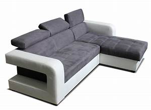 Canape D39angle Convertible Reversible Dave Blanc Grise