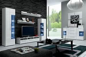 Wohnzimmer Italienisches Design : hochglanz wohnwand roma italienisches design mit led ~ Markanthonyermac.com Haus und Dekorationen