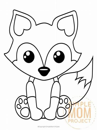 Coloring Fox Pages Printable Simple Mom Woodland