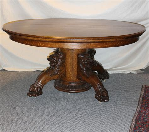 vintage claw foot table fancy round oak dining table with carved lion headed and