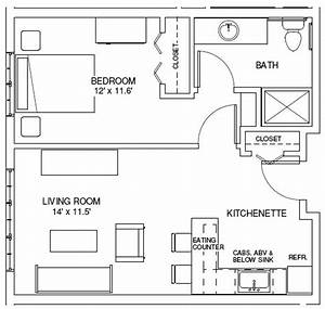One bedroom apartment floor plan 1 bedroom efficiency for One room apartment design plan