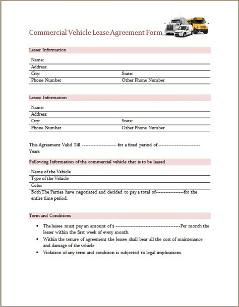 commercial vehicle lease agreement form microsoft word