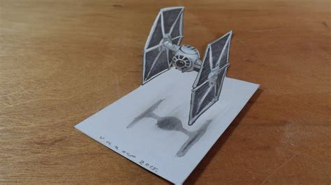 How To Draw A 3d Boat On Paper by Drawing 3d Tie Fighter From The Wars 3d Trick