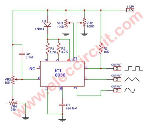 mini function generator circuit using icl8038 eleccircuit