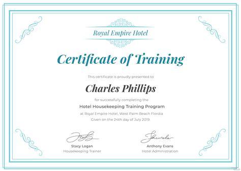 hotel training certificate template  adobe