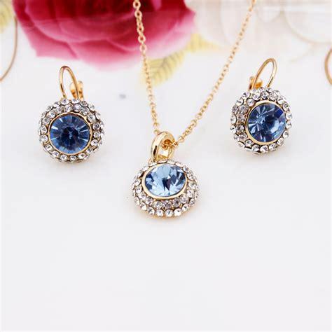 austrian crystal earrings necklace jewelry set  gold