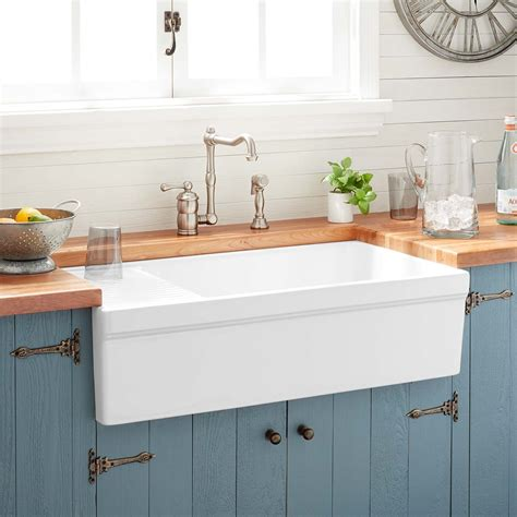 fireclay kitchen sink 36 quot gallo fireclay farmhouse sink with drainboard white 3746