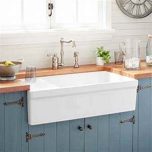 36quot gallo fireclay farmhouse sink with drainboard white With 36 white farm sink