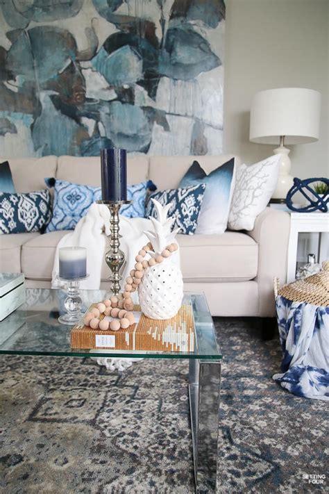 indigo decor decorating with indigo blue black and gray shades of summer home tour setting for four