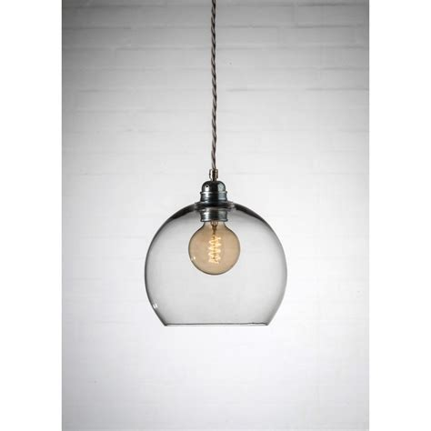 small grey glass globe pendant light fitting on vintage