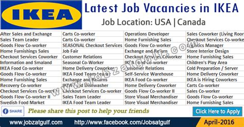 latest job vacancies  ikea usa canada jobzatgulfcom