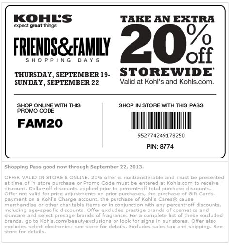 printable coupons kohls coupons