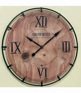 Horloge Murale Bois : horloge murale ronde bois et m tal grand hotel ~ Teatrodelosmanantiales.com Idées de Décoration