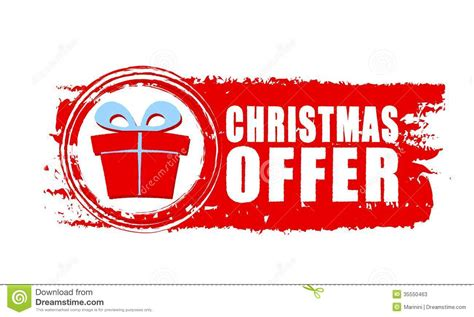 christmas offer and gift box on red drawn banner stock