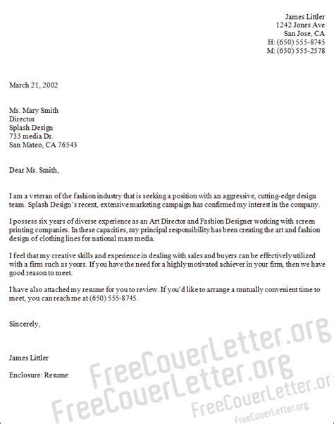 art  fashion designer cover letter sample