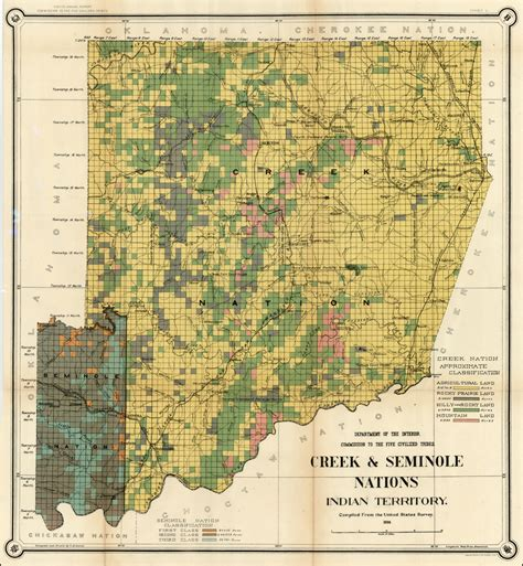 united states department of interior bureau of indian affairs map of the creek seminole nations indian territory