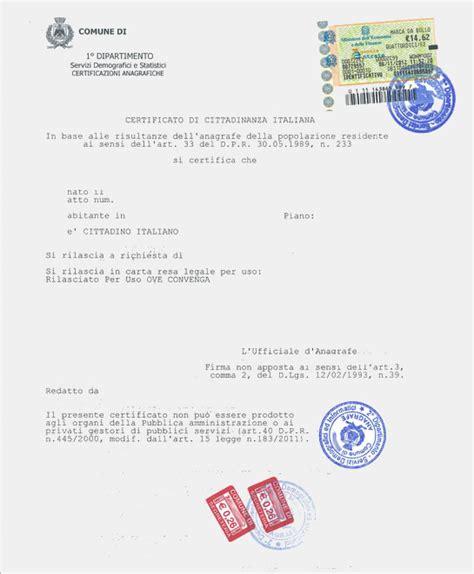 Comune Di Gallarate Ufficio Anagrafe - certificato di cittadinanza cittadinanza italiana