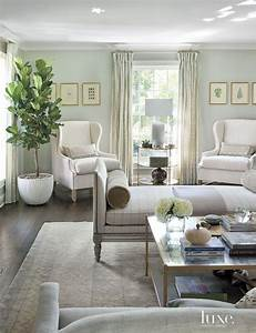 Transitional, Pale, Green, Living, Room, With, Antique, Rug