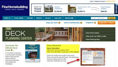 free deck cost estimator calculator ad construction