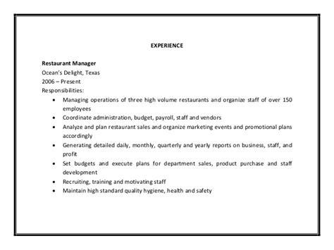 restaurant manager resume sle pdf