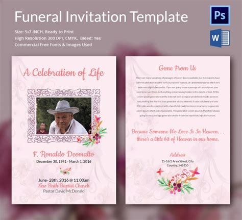 funeral announcement template free sle funeral invitation template 11 documents in word psd