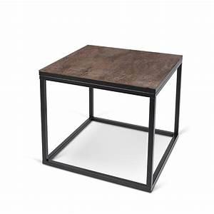 Table D Appoint Metal : temahome table d 39 appoint design sigma c ramique marron pieds en m tal ~ Teatrodelosmanantiales.com Idées de Décoration