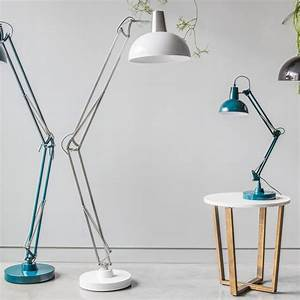 Aldwych retro hinged floor lamp white contemporary lighting for Giant retro floor lamp the range