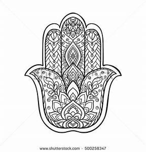 Vector Indian hand drawn hamsa symbol with ethnic ...