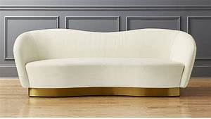Robey white curved sofa reviews cb2 for Curved sectional sofa dimensions