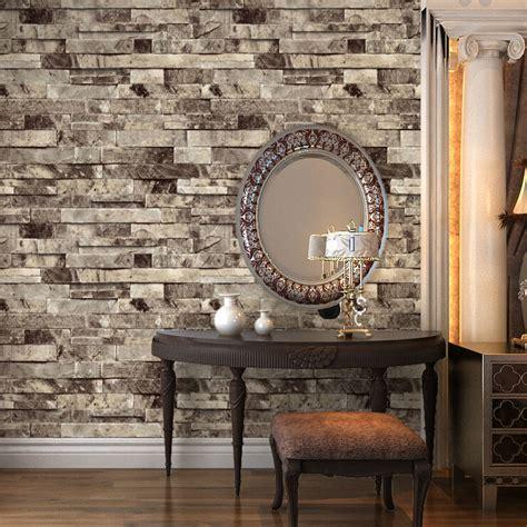 vintage faux brick  wallpaper beige stone paper home