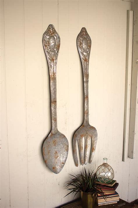 large rustic metal fork  spoon