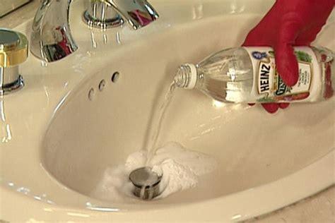 draining bathroom sink baking soda unclog a drain with baking soda and vinegar we tried all