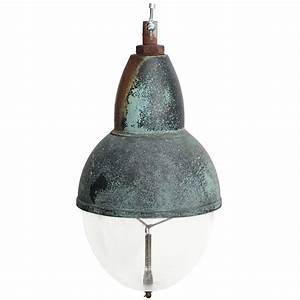 Vintage copper pendant light with glass shade at stdibs