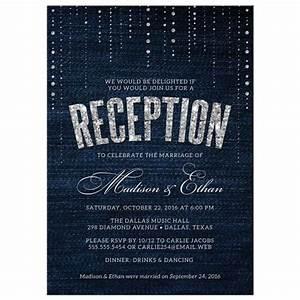 Post Wedding Reception Only Invitations - Denim & Diamonds